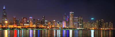 Chicago Skyline With Cubs World Series Lights Night, Chicago, Cook County, Illinois,  Poster by Panoramic Images