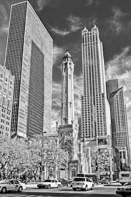 Chicago Water Tower Shopping Black And White Poster by Christopher Arndt