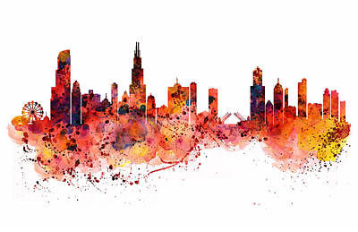 Chicago Watercolor Skyline Poster by Marian Voicu