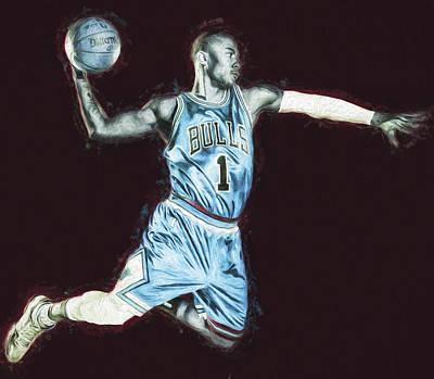 Chicao Bulls Derrick Rose Painted Digitally Blue Poster by David Haskett