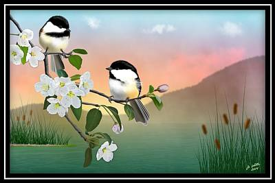 Chickadees And Apple Blossoms Poster by John Wills