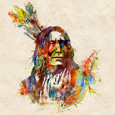 Chief Mojo Watercolor Poster by Marian Voicu