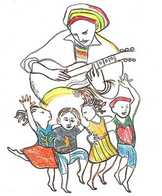 Children Reggae Dancing Poster by Kippax Williams