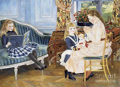 Children's Afternoon At Wargemont Poster by Pierre Auguste Renoir