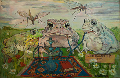 Chilling Frogs Poster by Nick Skullinsky