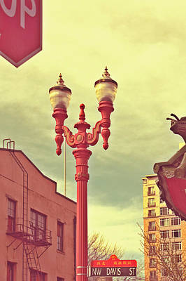 Chinatown Lamp Poster by Cathie Tyler