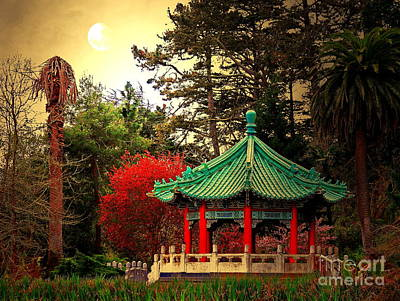 Chinese Pavilion Under Golden Moonlight Poster by Wingsdomain Art and Photography