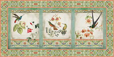 Triptych - Chinoiserie Vintage Hummingbirds N Flowers Poster by Audrey Jeanne Roberts