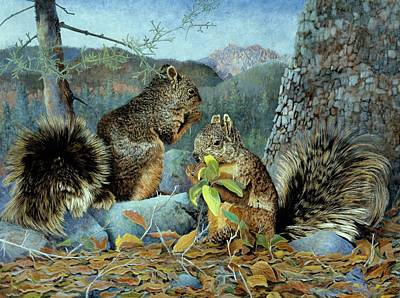 Chiricahua Fox Squirrels Poster by DeLoss McWilliams