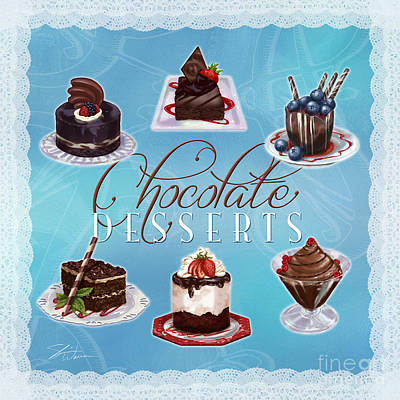 Chocolate Desserts Poster by Shari Warren
