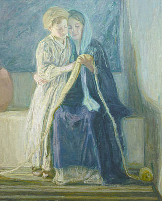 Christ And His Mother Studying The Scriptures Poster by Henry Ossawa Tanner
