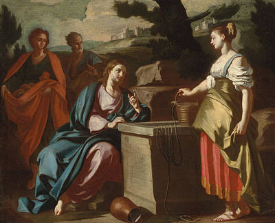 Christ And The Woman Of Samaria At The Well Poster by Francesco Solimena
