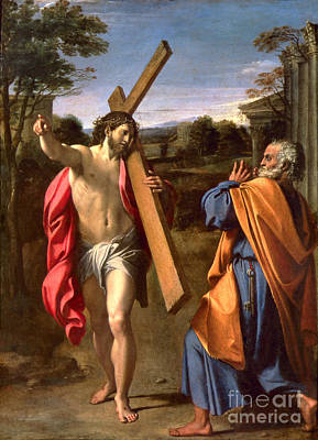 Christ Appearing To St. Peter On The Appian Way Poster by Annibale Carracci