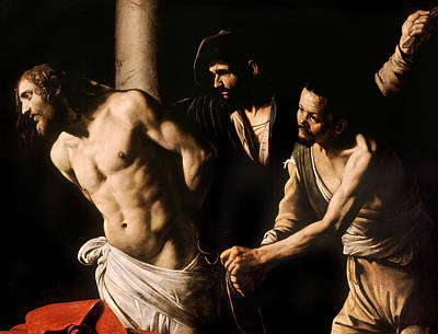 Christ At The Column Poster by Caravaggio