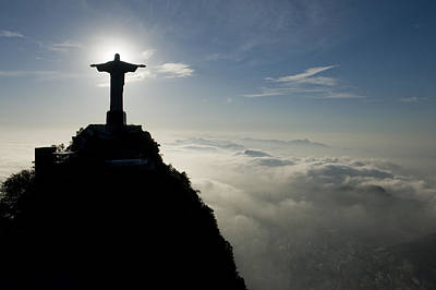 Christ The Redeemer Statue At Sunrise Poster by Joel Sartore