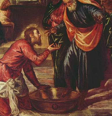 Christ Washing The Feet Of The Disciples Poster by Tintoretto