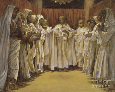 Christ With The Twelve Apostles Poster by Tissot