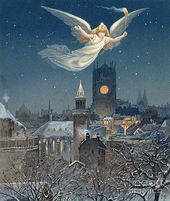 Christmas Card Poster by Thomas Moran