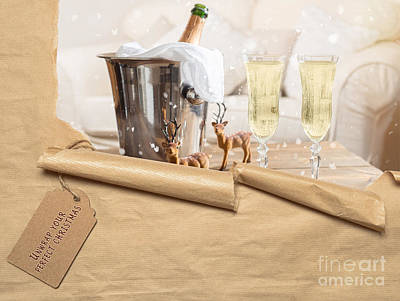 Christmas Champagne Poster by Amanda Elwell