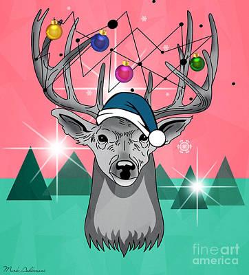 Christmas Deer Poster by Mark Ashkenazi
