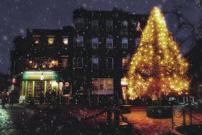 Christmas In Boston - North Square Poster by Joann Vitali