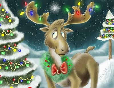 Christmas Moose Poster by Hank Nunes