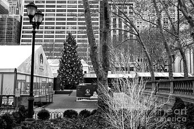 Christmas Tree In Bryant Park Poster by John Rizzuto