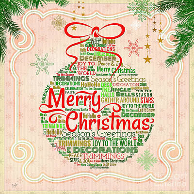 Christmas Words Ornament Poster by Bedros Awak