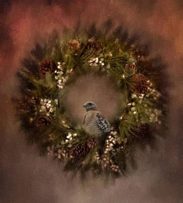 Christmas Wreath Poster by Kim Hojnacki
