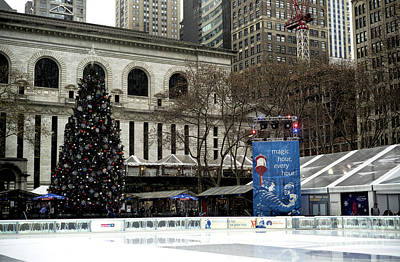 Christmastime In Bryant Park Poster by John Rizzuto