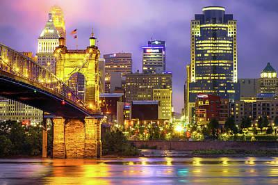 Cincinnati Downtown Skyline Poster by Gregory Ballos