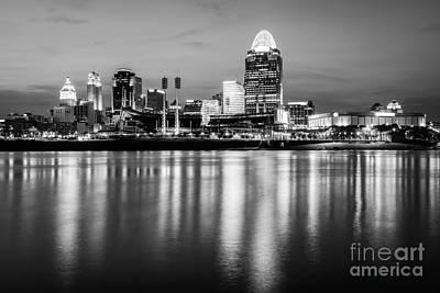 Cincinnati Night Skyline Black And White Photo Poster by Paul Velgos