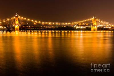 Cincinnati Roebling Bridge At Night Poster by Paul Velgos