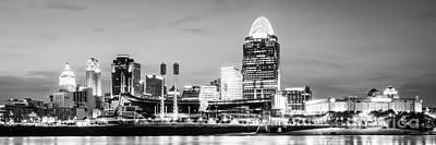 Cincinnati Skyline Black And White Panorama Photo Poster by Paul Velgos