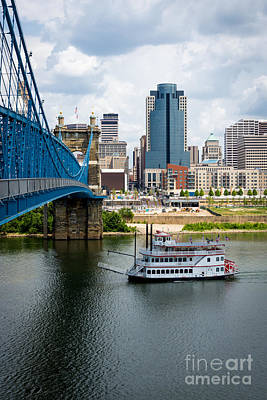 Cincinnati Skyline Riverboat And Bridge Poster by Paul Velgos