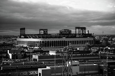 Citi Field - New York Mets Bw Poster by Frank Romeo