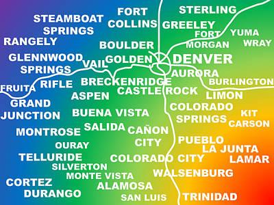 Cities Of Colorado Poster by Colorado Digital