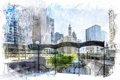 City-art Chicago Downtown I Poster by Melanie Viola