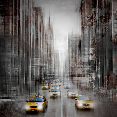 City-art Nyc 5th Avenue Yellow Cabs Poster by Melanie Viola