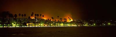 City Burning At Night, Montecito, Santa Poster by Panoramic Images