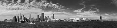City - Chicago Il -  Chicago Skyline And The Navy Pier - Bw Poster by Mike Savad