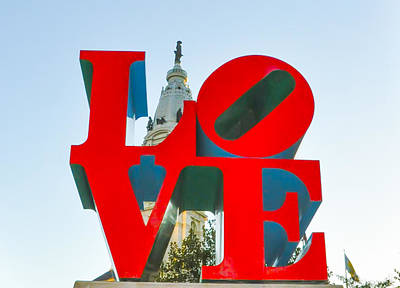 City Hall Behind The Love Statue Poster by Bill Cannon