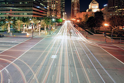 City Light Trails On Street In Downtown Poster by Eric Lo