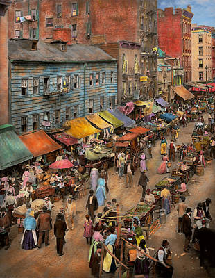 City - Ny - Jewish Market On The East Side 1890 Poster by Mike Savad