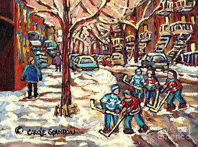 City Streets Of Montreal Winter Hockey Scene After The Snowfall Original Canadian Art Carole Spandau Poster by Carole Spandau