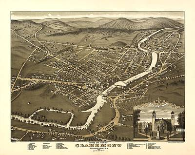 Claremont New Hampshire 1877 Poster by Mountain Dreams
