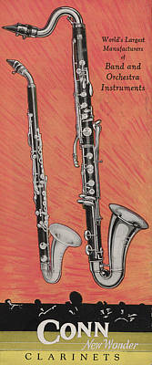 Clarinet And Giant Boehm Bass Poster by American School