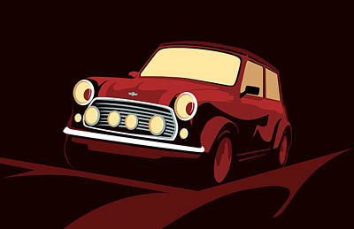 Classic Mini Cooper In Red Poster by Michael Tompsett
