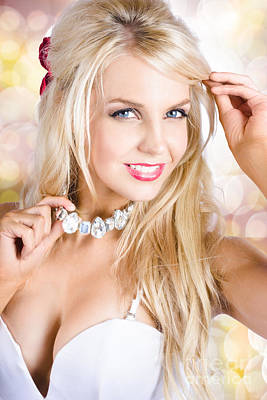 Classy Woman Wearing Diamond Jewelry Chocker Poster by Jorgo Photography - Wall Art Gallery