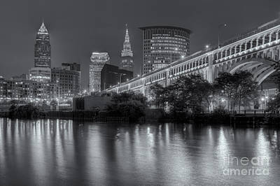 Cleveland Night Skyline IIi Poster by Clarence Holmes